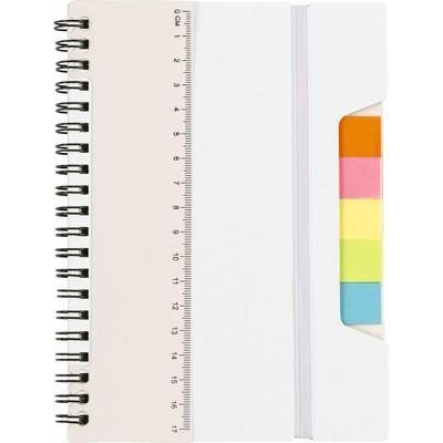 Zestaw do notatek, notatnik, linijka, karteczki samoprzylepne