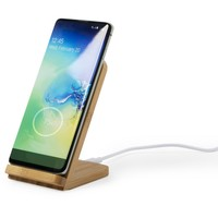 Bambusowa ładowarka bezprzewodowa 5W, stojak na telefon
